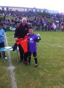 PJ Ward receiving the U.12 Goalkeeping of the Tournament at the Salthill national 5's